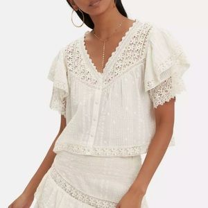 LoveShackFancy Caitlin Lace Embroidered Blouse